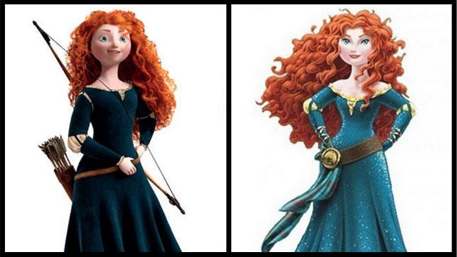 Merida przed i po liftingu speców ze studia Disneya. Czyżby moda na zgrabną sylwetkę trafiła już do bajek?